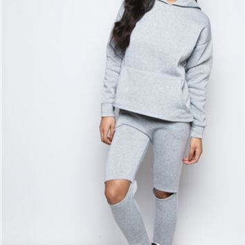 Olivia Grey Knee Cut Out Loungewear Set at misspap.co.uk