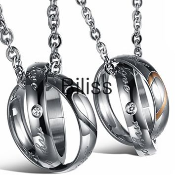"SHIPS FROM USA   Lover half heart Necklace For Couples ""Real Love"" Double Circle Stainless Steel For Mens Ladies Couple Necklace"