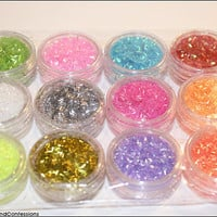 12 Pots of Glitter for NAIL ART/ Crafts/ Cosmetics/ ect