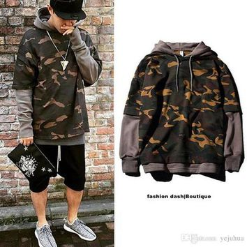 Camouflage Hip-Hop Hoodie Skateboard Sweatshirt For Men Pullover Sudadera Hombre Lovers Coat Grey Black Khaki Size S-2XL
