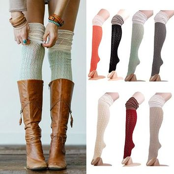 Women Fashion Crochet Knit Over Knee Thigh High Long Boot Hosiery Socks