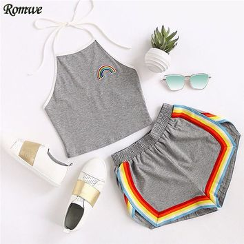 ROMWE 2 Piece Set Shorts Women Crop Tops Women 2017 Summer Ladies Rainbow Patch Halter Top and Colorful Trimming Shorts Set