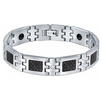 Stainless Steel Black Carbon Fiber, CZ, and Hematite Magnetic Therapy Bracelet