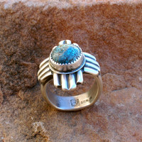 RZ Sterling Silver Turquoise Onyx Lapis Zia Sun Symbol Southwestern New Mexico Native Style Ring
