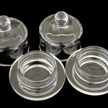 Vintage Votive Candle Holders 2 Pieces Lot Clear Think Glass Unmarked Set Votive Cups Pair