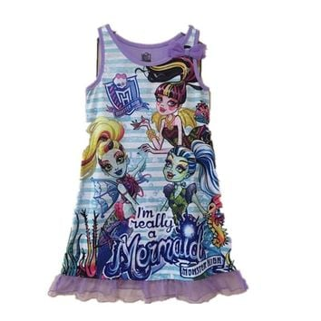Girls Monster Princess Dress Children Cartoon Dress Clothes for Girls High Monster Dress Baby Girls Dress Costume Kids Party