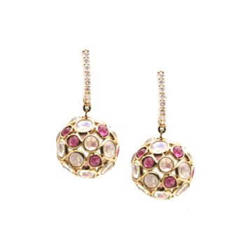Tresor Collection - Rainbow Moonstone & Pink Tourmaline Ball With Diamond Huggies Earrings In 18K Yellow Gold