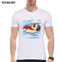 Men's Flying Pug Dog Print T shirt Men Summer Funny Hipster Animal Tees