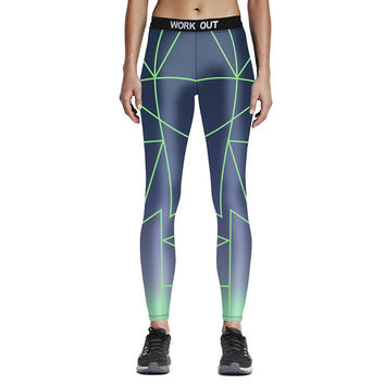 Fitness Leggings Gradient Printed Color Full Length (7 Colors)