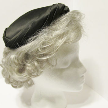 Black Satin Hat - 1950s Vintage Neiman Marcus Cocktail Hat, Vintage Accessories, Vintage Gifts, Gifts for Her