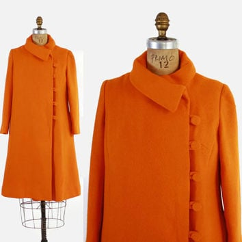 Vintage 60s LILLI ANN COAT / 1960s Bright Orange Mod Wool Winter Jacket S - M