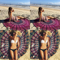 Indian Yoga Blankets Round Mandala Tapestry Wall Hanging Throw Towel Beach Yoga Mat