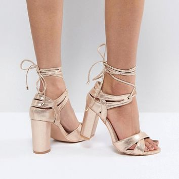True Decadence Block Heel Ankle Tie Heeled Sandals at asos.com