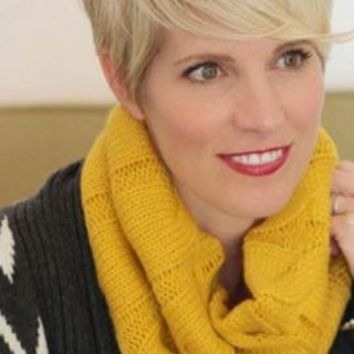 Common Interests Cable Knit Infinity Scarf in Mustard Yellow | Sincerely Sweet Boutique