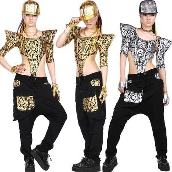 New  fashion Adults Women Hip Hop Dance wear TopsTextured  Jazz Ds Costumes Gold Silver Bodysuit Hollow out  Sexy Jumpsuit