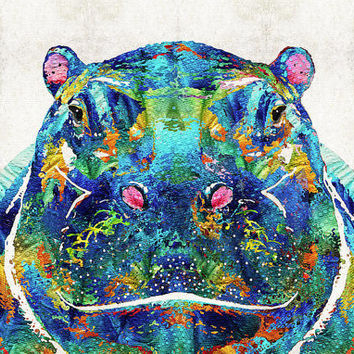 Colorful Hippo Art PRINT from Painting Hippopotamus Animal Blue CANVAS Zoo African Baby Nursery Kids Room Ready 2 Hang Large Artwork Cute