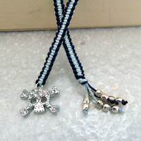 Macrame Bookmark with skull and bones rhinestone charm and silver plated beads, booklover gift