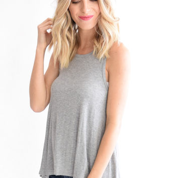 Heather Tank In Gray