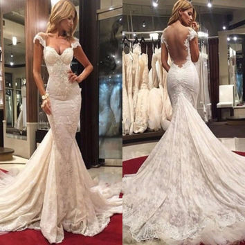 Sexy Backless Mermaid Wedding Dress Cap Sleeve Sweetheart Applique Lace Bridal Gowns Long Vestido De Noiva