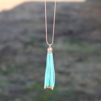 Tassel Time Necklace {Mint}