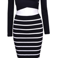 """Hollywood Dreams"" Two pieces Stripes Dress Set"