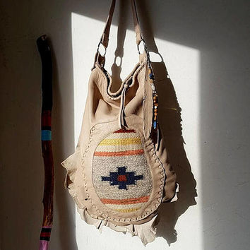 Ivory beige southwestern western hobo navajo navaho tribal indian cowgirl southwest leather antique kilim maian bag sweetsmokebags