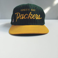 Vintage, Green Bay Packers, Snapback, Adjustable, Flat Rim, Green, Yellow, 1980s, NFL gameday, Trucker Hat