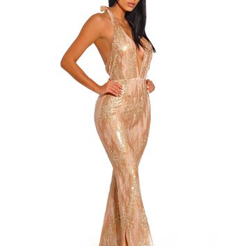 Fabiola Halter Top Backless Sequined Mesh Jumpsuit