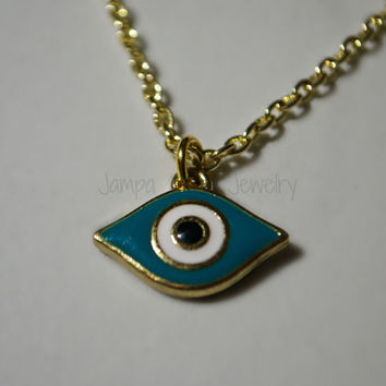 Evil Eye Necklace, Gold & Turquoise