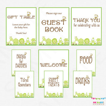Green Safari Baby Shower Table Signs, Jungle Baby Shower Welcome, Guest Book, Gift Table, Drinks, Sweet Treats, Thank You Printable BS0001-G