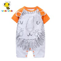 Wua Wua Baby Jumpsuits Rompers Boy Girl Summer One pieces Short-sleeve Infant Clothing Cartoon Lion Newborn Outfit Brand Rompers