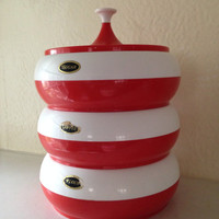 Mid Century Modern White Red Kitchen Storage Stacklable Containers Atomic Space Age Plastic Flour Coffee Sugar