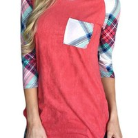 Vibrant Plaid Raglan Sleeve Red Womens Top