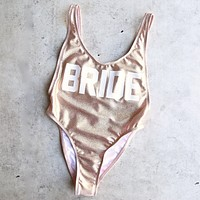 grl gng collection - bride high cut vintage one piece - glittery rose gold