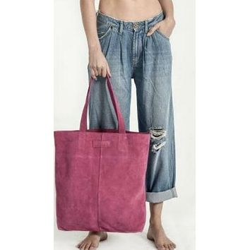 One Teaspoon Harlowe Suede Tote Hot Pink