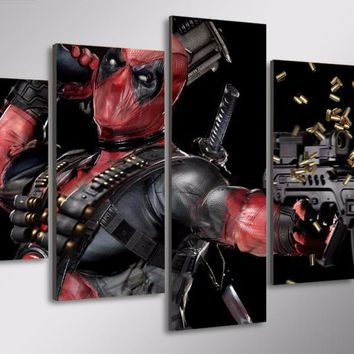Machine Gun Deadpool Limited Edition 5-Piece Wall Art Canvas