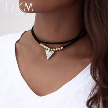 Triangle Stone Choker Double Layer Unicorn Necklaces for Women