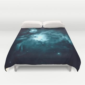 Orion nebula : Teal Galaxy Duvet Cover by 2sweet4words Designs