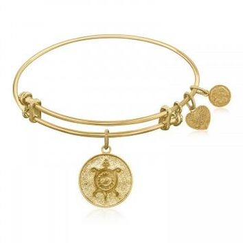 Expandable Bangle in Yellow Tone Brass with Chinese Longevity Symbol