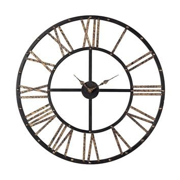 Metal Framed Roman Numeral Open Back Wall Clock