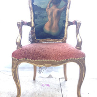 Gold and Coral French Louis XVI Upholstered Bergere Armchair Mermaid Nautical Eclectic Accent Chair