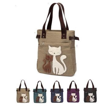 Canvas Mommy & Kitten Diaper Bag Hybrid Tote