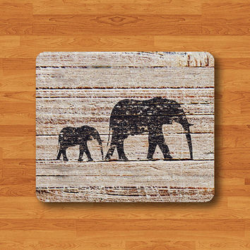 Elephant Silhouette On Wood Mouse Pad Art Black Shadow Wooden MousePad For Girl Desk Deco Work Pad Mat Rectangle Personal Gift Art Indian