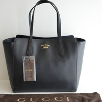 $1350 AUTHENTIC BLACK GUCCI LEATHER BOSTON TOTE CHAIN DISCO soho BAG HANDBAG GG