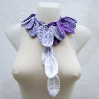 Leaf Crochet Scarf,Lariat Scarf,Long Necklace,Women Scarf