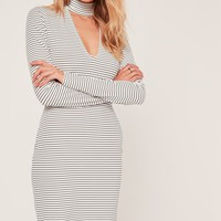 Missguided - Stripe Plunge Choker Bodycon Dress White