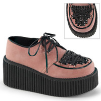 Demonia Creeper Pink with Studded Pyramid Studs