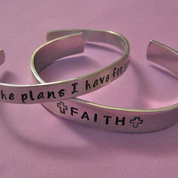 SET - Custom hand-stamped cuff bracelets  - 1/4 inch and 3/8 inch wide - Personalized just for you