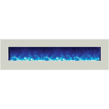 Amantii Built-in / Wall Mount Electric Fireplace ( Fire & Ice, WM‐BI‐72‐8123‐WHTGLS)