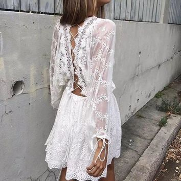 Boho Inspired 2017 jumpsuit white lace floral embroidery loose fit women's playsuits hippie chic backless rompers brand clothing